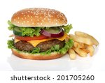 tasty hamburger and french... | Shutterstock . vector #201705260