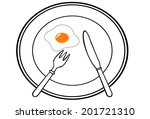 fork and knife on dish and egg | Shutterstock .eps vector #201721310
