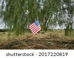 American Flag On A Hay Bale