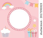 birthday kids card with frame.... | Shutterstock .eps vector #2017350323