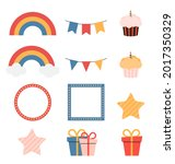 birthday kids icon collection.... | Shutterstock .eps vector #2017350329