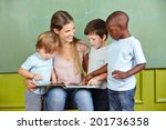 happy child day care worker...   Shutterstock . vector #201736358