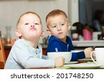 two blond brothers boys kids... | Shutterstock . vector #201748250