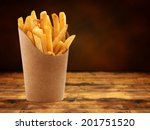 french fries in a paper basket... | Shutterstock . vector #201751520