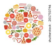 round design element with pizza ... | Shutterstock .eps vector #201753746