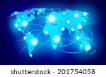 world map with glowing points... | Shutterstock .eps vector #201754058
