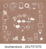 sketches of cloud computing... | Shutterstock .eps vector #201757370