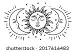 sun and two moon with faces....   Shutterstock .eps vector #2017616483