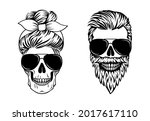 couple of skulls. male and...   Shutterstock .eps vector #2017617110