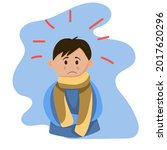 a sick boy with a scarf  in... | Shutterstock .eps vector #2017620296