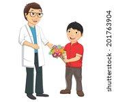 kid give flower to teacher... | Shutterstock .eps vector #201763904