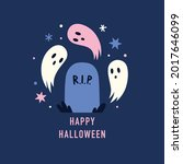 grave and cute spooky ghosts.... | Shutterstock .eps vector #2017646099