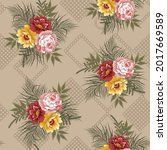 seamless vintage flower pattern ... | Shutterstock .eps vector #2017669589