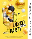 cocktail disco party poster...   Shutterstock .eps vector #2017767086