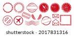 postal stamp frame grunge empty ... | Shutterstock .eps vector #2017831316