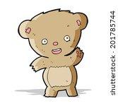 cartoon waving teddy bear   Shutterstock .eps vector #201785744