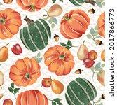 autumn pumpkins with cream... | Shutterstock .eps vector #2017866773