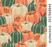 packed autumn pumpkins... | Shutterstock .eps vector #2017868846