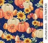 Autumn Pumpkins With Royal Blue ...