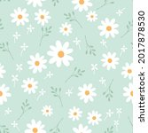 seamless pattern with daisy ... | Shutterstock .eps vector #2017878530