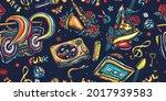 retro music pattern. musical... | Shutterstock .eps vector #2017939583