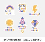 job and great job stickers logo.... | Shutterstock .eps vector #2017958450