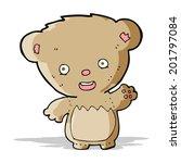 cartoon teddy bear waving   Shutterstock .eps vector #201797084