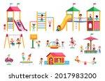 kids playground. children swing ... | Shutterstock .eps vector #2017983200