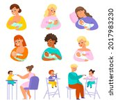 baby feeding. parents give kids ...   Shutterstock .eps vector #2017983230