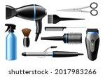 realistic hairdresser tools. 3d ... | Shutterstock .eps vector #2017983266