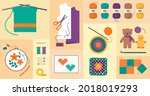 creative sewing and needlework... | Shutterstock .eps vector #2018019293