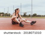 woman sits on a playground and...   Shutterstock . vector #2018071010