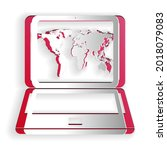paper cut laptop with world map ...