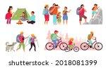 family nature adventures. happy ... | Shutterstock .eps vector #2018081399