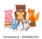 cute animals reading. wild... | Shutterstock .eps vector #2018081543