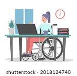 woman in wheechair working in... | Shutterstock .eps vector #2018124740