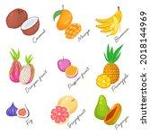 hand drawn vector set. exotic...   Shutterstock .eps vector #2018144969