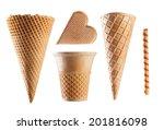 set of ice cream waffle cones... | Shutterstock . vector #201816098