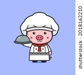cute pig chef holding plate...   Shutterstock .eps vector #2018162210