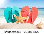 summer concept with sandy beach ... | Shutterstock . vector #201816823