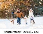 Happy Family And Husky Dog In...
