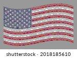 mosaic waving usa flag created... | Shutterstock .eps vector #2018185610