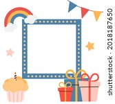 birthday kids card with frame.... | Shutterstock .eps vector #2018187650