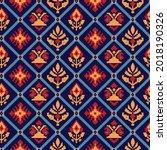 ethnics seamless pattern on navy | Shutterstock .eps vector #2018190326