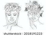 Flower Face Woman Line Drawing. ...