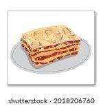 lasagna pasta italian food on a ...   Shutterstock .eps vector #2018206760