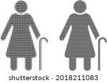 pixelated halftone grandmother... | Shutterstock .eps vector #2018211083