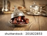 dried date palm fruits or kurma ... | Shutterstock . vector #201822853