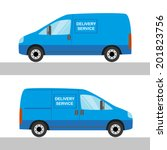 blue delivery van isolated view ... | Shutterstock .eps vector #201823756