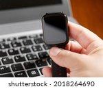 male hand checking smartwatch... | Shutterstock . vector #2018264690